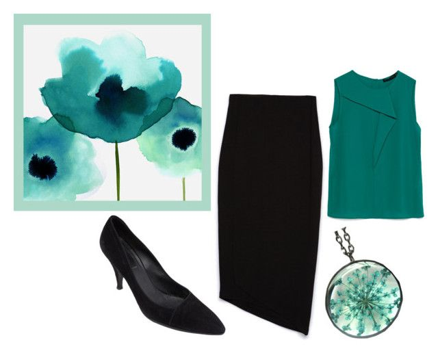 """Black and turquoise"" by mia-de-neef ❤ liked on Polyvore featuring moda, Zara e Prada"