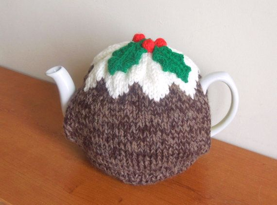 Hand Made Christmas Pudding Knitted Tea Cosy For Your Teapot Fits 2