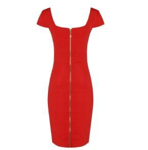 Style Stealer Front Zip Bandage Dress (Red) *Ships Free + 3x's Style Points*