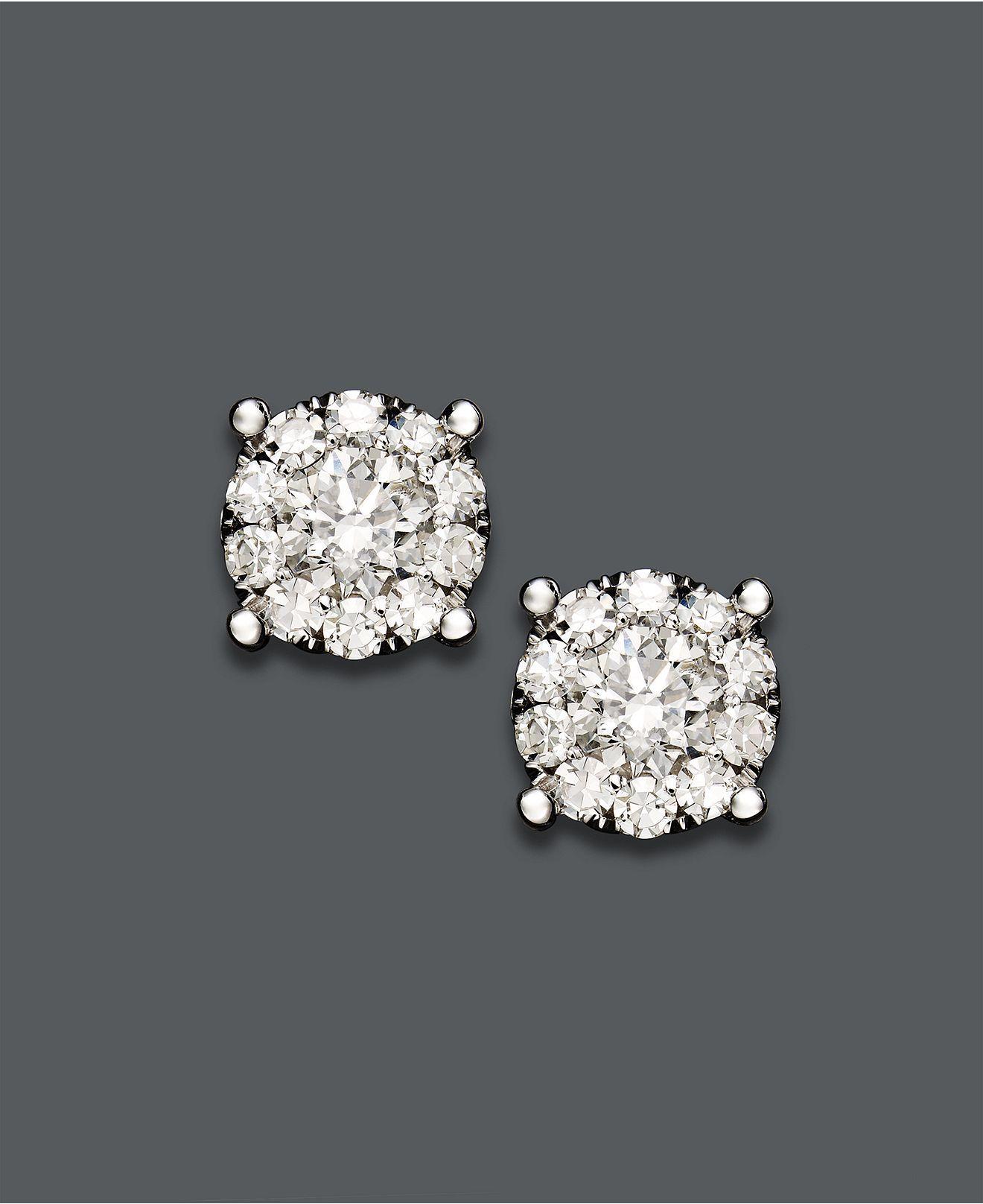 0afddb3daa7 Prestige Unity Diamond Earrings, 14k White Gold Diamond Circle Stud ...