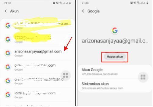 hapus salah satu akun gmail di android
