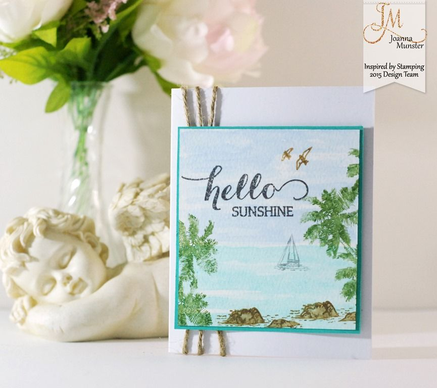 Inspired by Stamping, Big Hello stamp set, Tropical Paradise stamp set, watercolor card, tropical card, thinking of you card