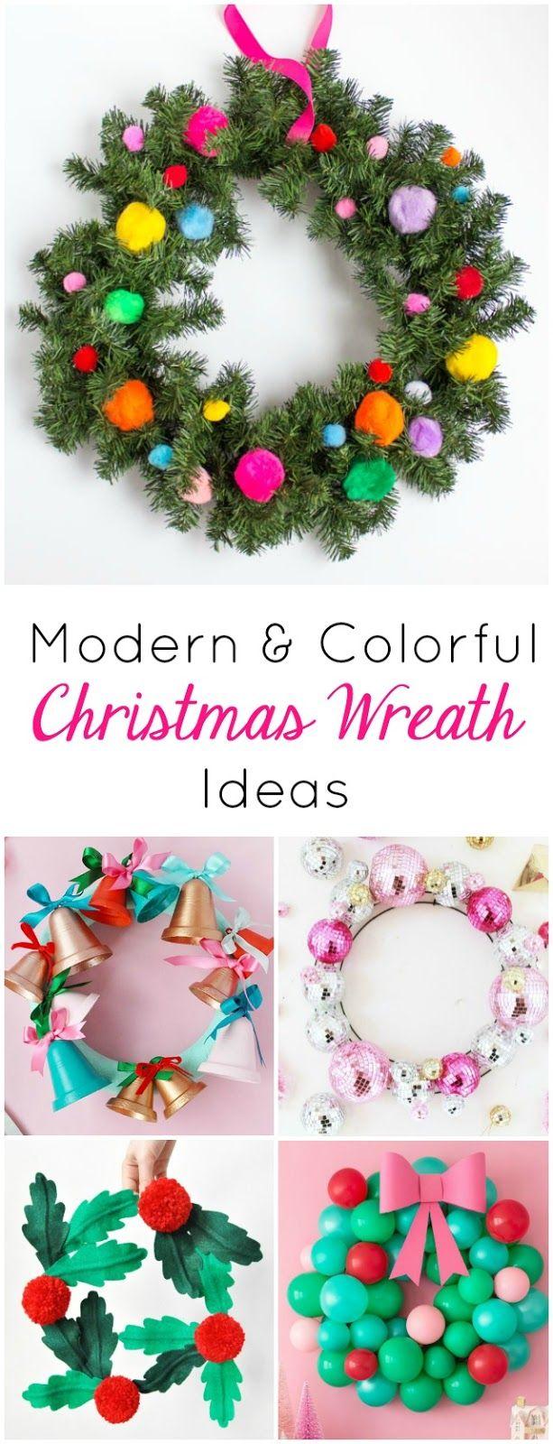 12 Modern and Colorful Christmas Wreath Ideas   Wreaths crafts, DIY ...