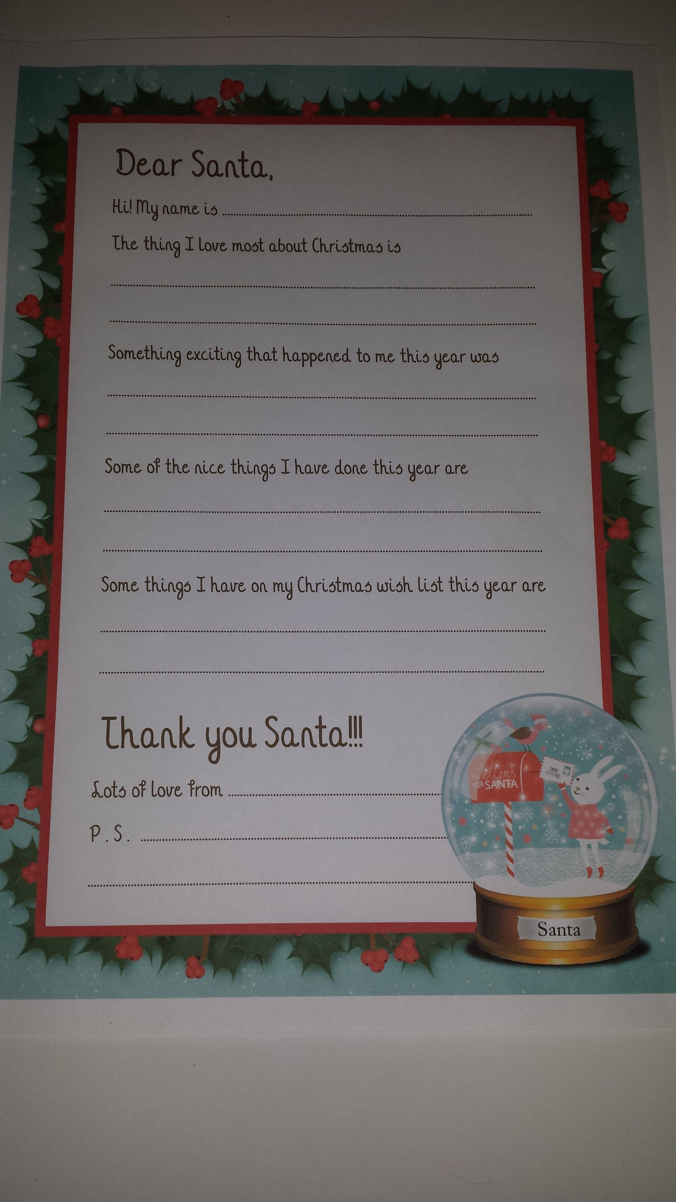 Free Letter to Santa template for you to download and