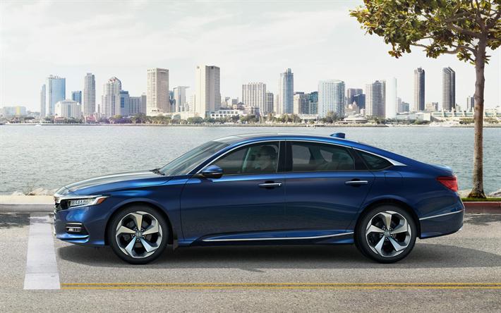 Download wallpapers Honda Accord, 2018, 4k, blue sedan
