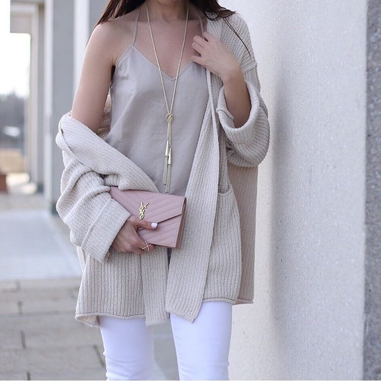 cream top and cardigan with accessories