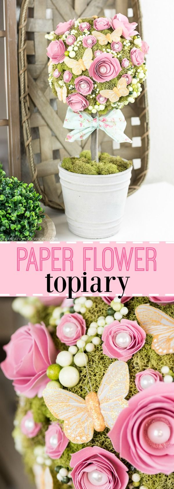 Diy flower topiary dekorasyon how to make a paper flower topiary from michaelsmakers a pumpkin and a princess mightylinksfo