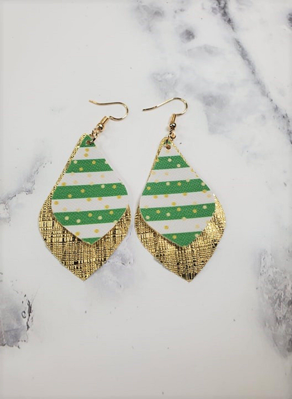St Patrick\u2019s Day Cross Faux Leather Earrings
