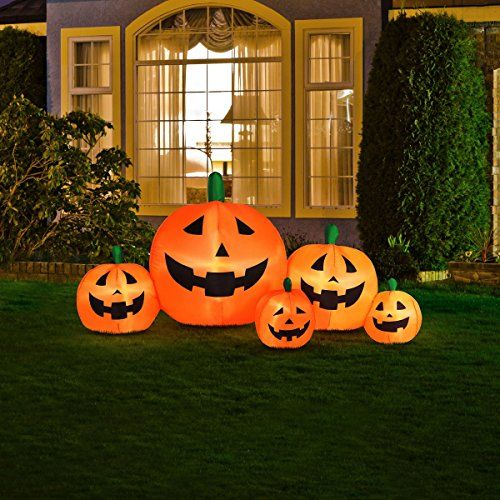 Outdoor Décor-Halloween Inflatable Pumpkin Family With Flashing - halloween inflatable decorations