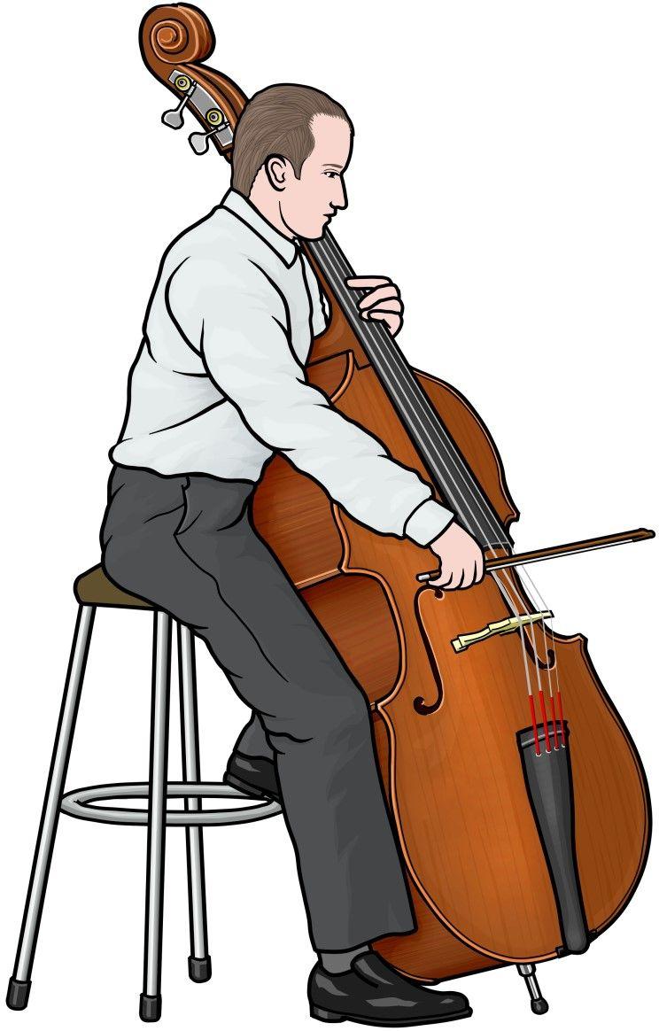 楽器のイラスト コントラバスを演奏する男性の図contrabass