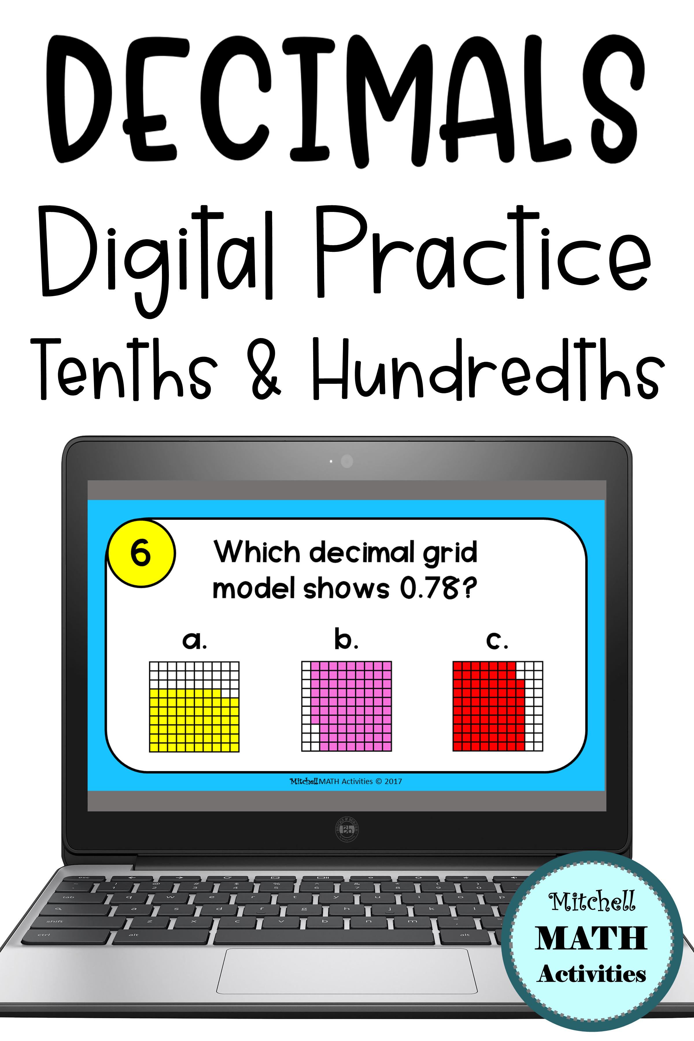 Writing Decimals Digital Task Cards