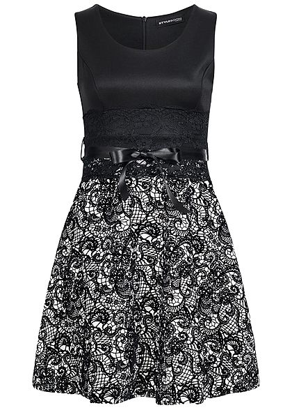 2dc73c34ecfdd5 Styleboom Fashion Damen Mini Kleid Florales Muster Spitze Bindeband schwarz  weiss Styleboom Fashion Kleider