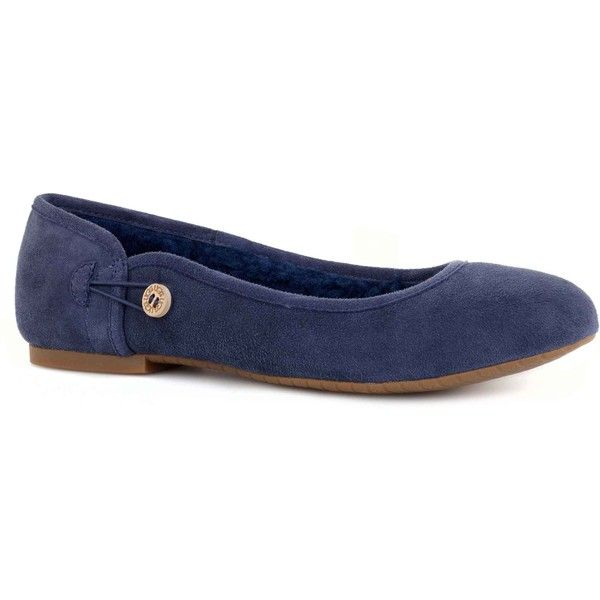 UGG Australia Women's Eitan Navy Flats ($140) ❤ liked on Polyvore featuring shoes, flats, blue, ballet pumps, navy blue shoes, blue ballet flats, wooden shoes and navy blue flat shoes