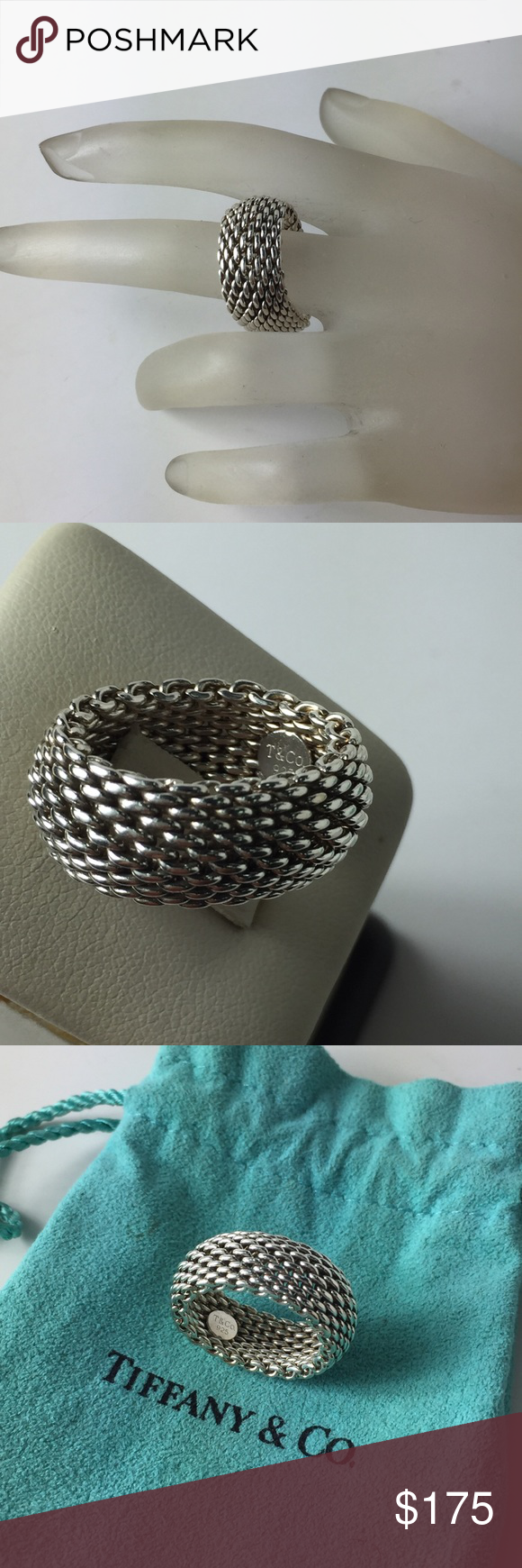 6a6396903ca17 T&C Somerset ring Tiffany & Co Somerset mesh ring weights 9.2 grams ...