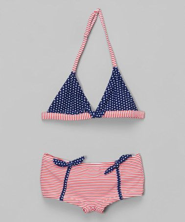 Another great find on #zulily! Blue & Red Stripe Bikini - Toddler & Girls #zulilyfinds