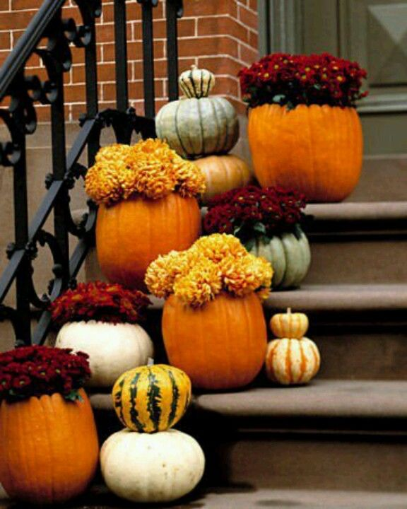Hollow Out A Large Pumpkin And Place Already Potted Mums Inside Of It For An Easy Wedding Centerpi Fall Decorations Porch Fall Mums Halloween Porch Decorations