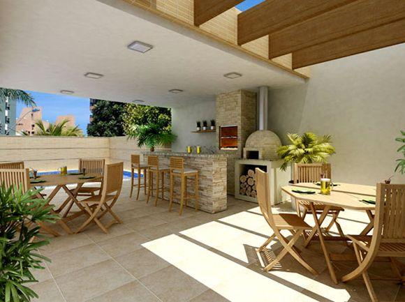 Rea de lazer com piscina e churrasqueira r stica for Piani di casa patio gratuito