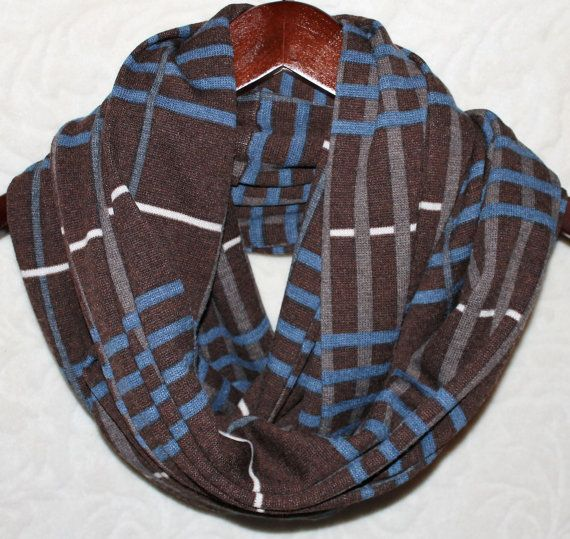 Blue & Brown Window Pane Unisex Sweater Knit Cowl Infinity Scarf on Etsy, $12.00