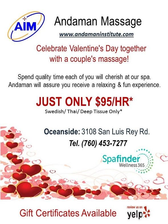 Couples Massage Specials For Valentines Day From Andaman Massage