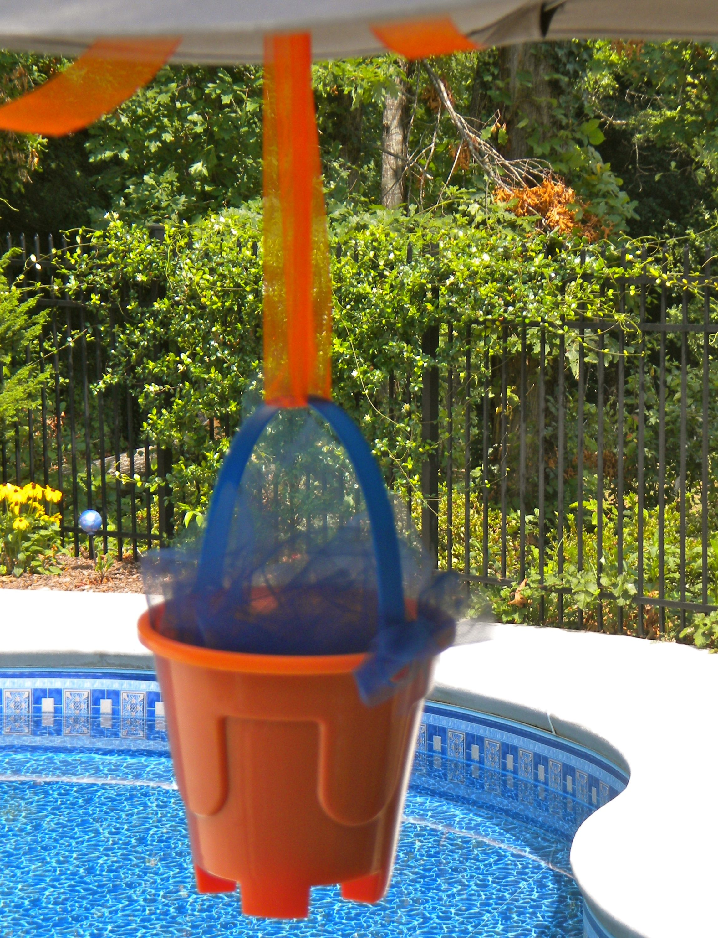Hang Beach Pails Filled With A Little Blue Netting From The Patio Umbrella  Ribs For Beach