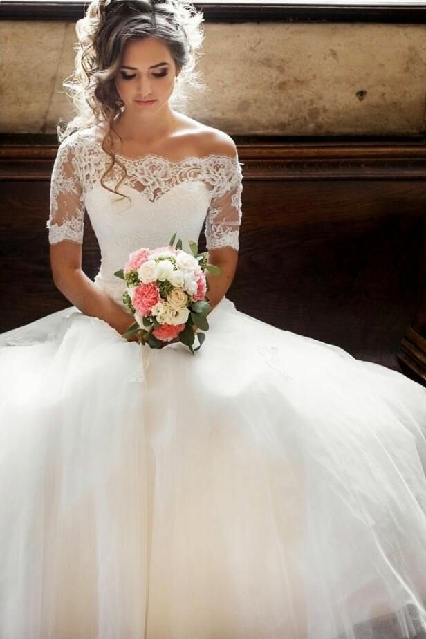 Photo of 2020 New Arrival Half Sleeves Off Shoulder Tulle Lace Long Ball Gown Wedding Dresses