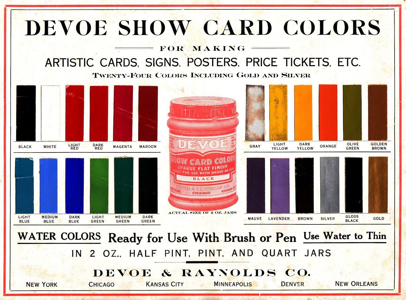 Devoe Show Card Color Chart For Traveling Salesmen Circa