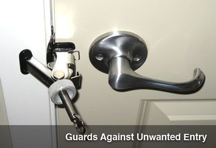 Door Security Found In Our Resort Hotels The Force Guard Hotel Door Lock Travel Door Lock Hotel Door Locks Door Design Travel Gadgets