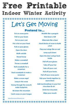 indoor winter activity free printable  business for