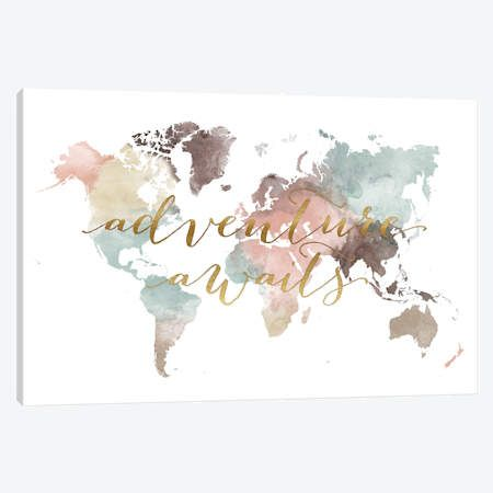 World Map Adventure Awaits VII Canvas Wall Art by ArtPrintsVicky | iCanvas #worldmapmural