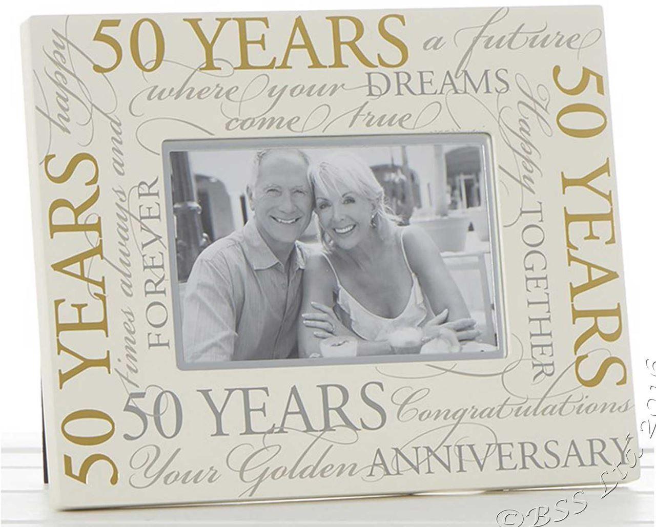 Golden wedding 50th anniversary 6 x 4 script photo frame