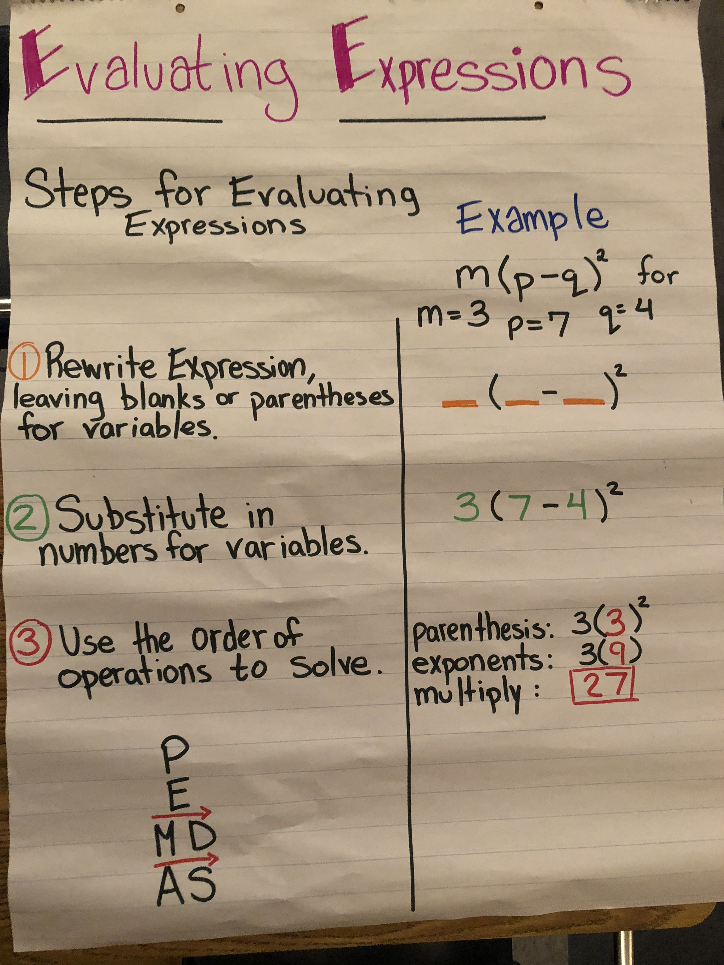 Evaluating Expressions Math Expressions Algebraic Expressions Evaluating Algebraic Expressions [ 4032 x 3024 Pixel ]