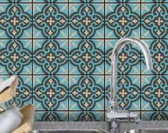 Tile Wall Decal Clic Moroccan Pattern 44 Pcs By Bleucoin