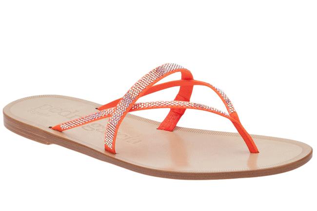 40 Totally On-Trend Summer Sandals  Zuriel sandals - orange neon satin & swarovski