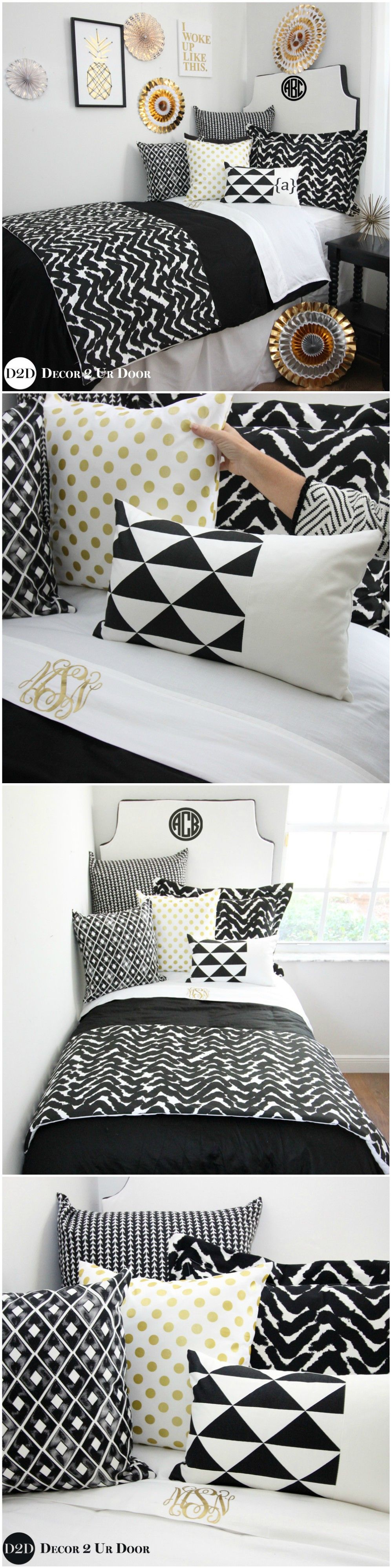 Black White And Gold Dorm Room Bedding And Decor Bold Black And Beautiful This Black And White And Gold Dorm Room Bedding Dorm Bedding Sets Dorm Bedding