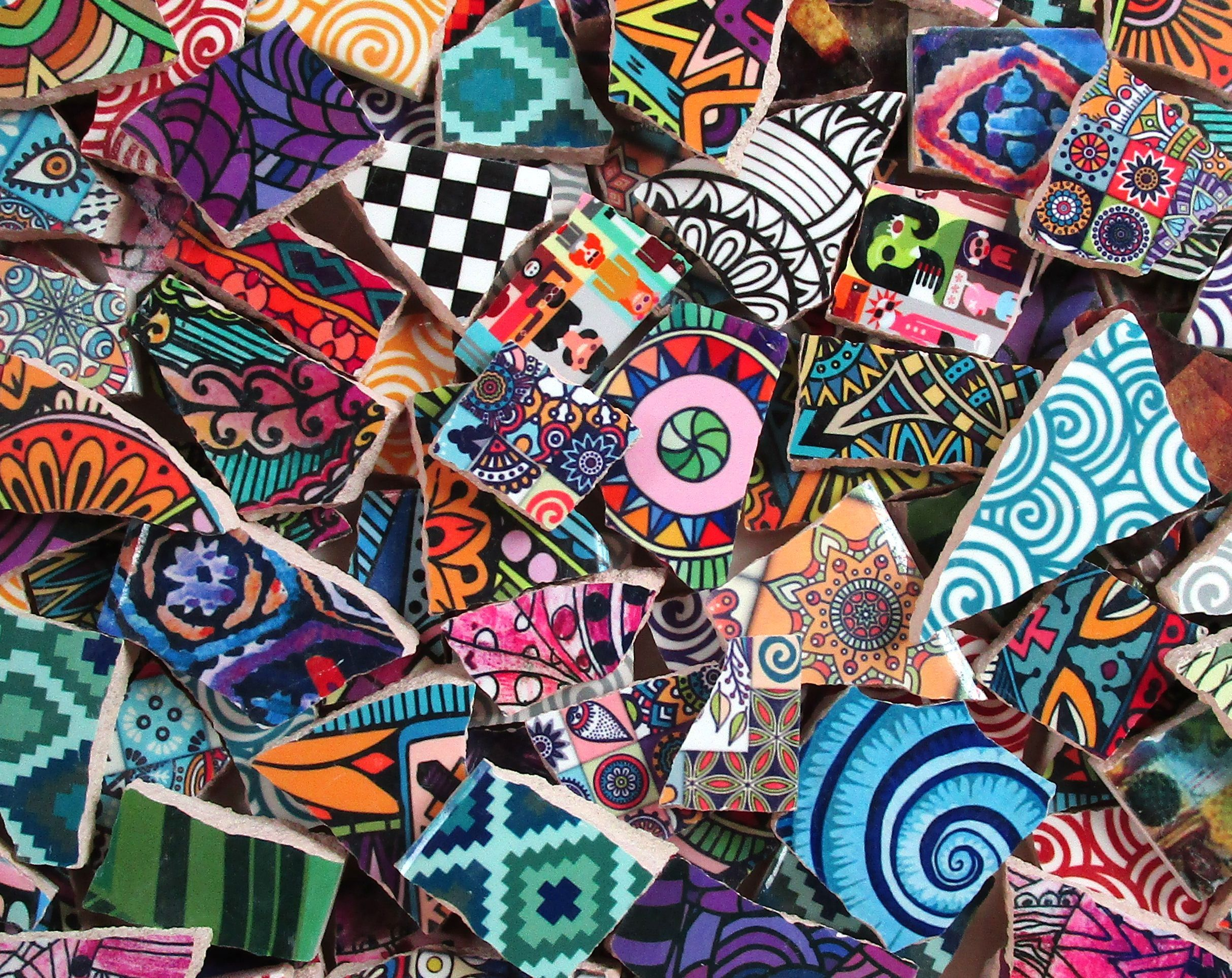 Closeout Sale Bulk Mosaic Tiles 2 Pounds Mixed Bright Abstract Art Designs Mixed Tile Pieces Bulk Mosaic Tiles Mosaic Made Ready To Ship Bright Abstract Art