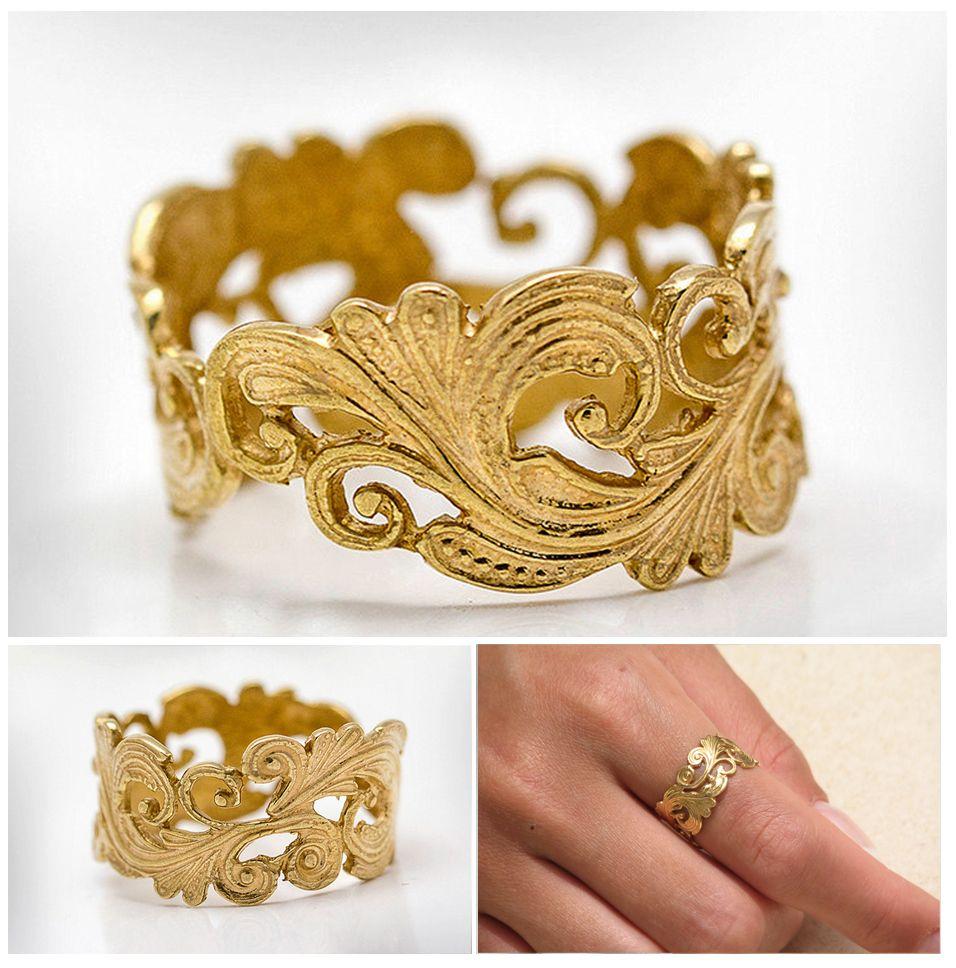 Weddings ring for women gemstone heart gold golden floral