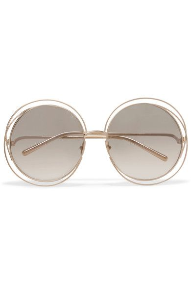 CHLOÉ Carlina round-frame gold-plated sunglasses. #chloé #太阳镜