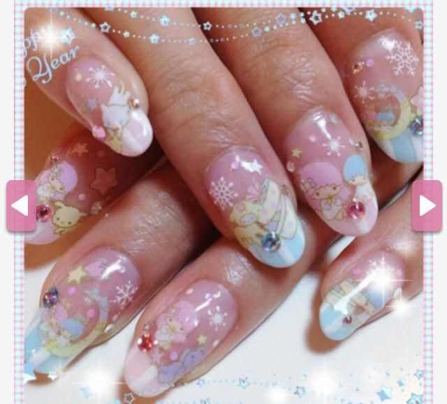 Little Twin Stars Nails Sanrio Awesomely Cute Geekynailsdesigns Star Nails Little Twin Stars Nail Designs