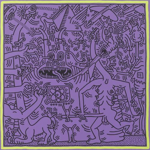 <b>Keith Haring</b> <i>Untitled (May 29, 1984)</i>, 1984 acrylic on canvas 94 x 94 inches (238.8 x 238.8 cm.) © Keith Haring Foundation