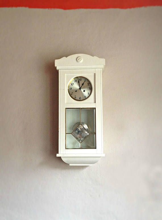 Pendulum Wall Clock White Wood Working