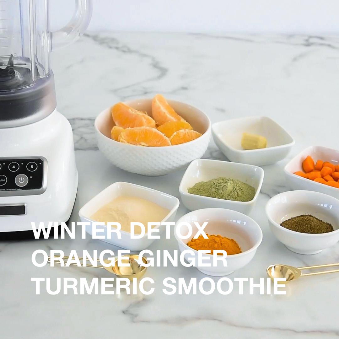 Winter Detox Smoothie with vegan plant protein.  #detox #plantprotein #vegan #nongmo #strawberrybananasmoothie