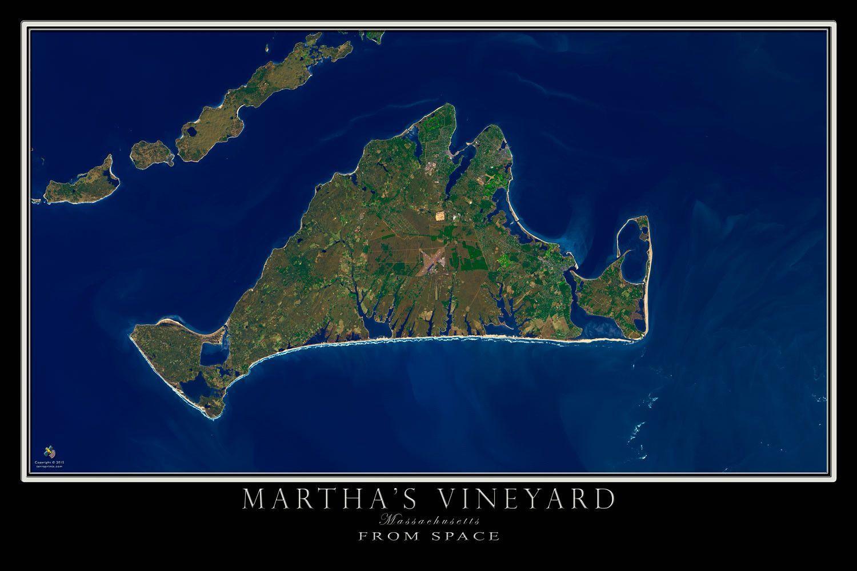 Marthas Vineyard Machusetts Satellite Poster Map ... on