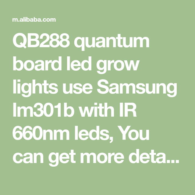 QB288 quantum board led grow lights use Samsung lm301b with IR 660nm