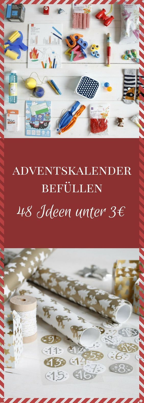 Adventskalender befüllen: Ideen für einen Jungen-Adventskalender und einen Mädchen-Adventskalender #calendrierdelaventdiy