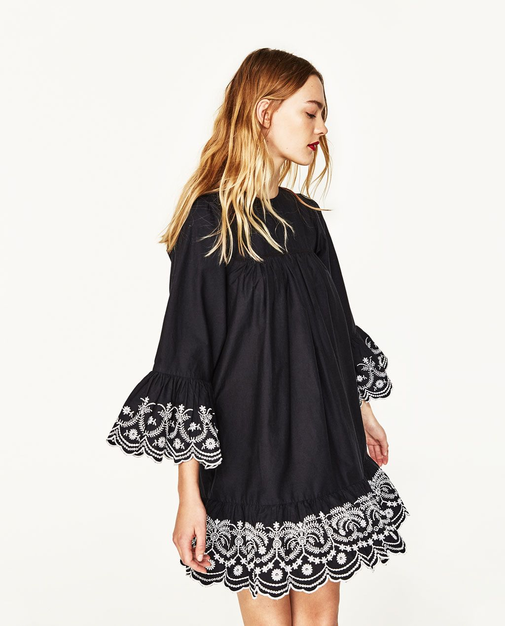 aa1c96f3cd7d LOOSE-FIT DRESS WITH CONTRASTING EMBROIDERY-DRESSES-WOMAN