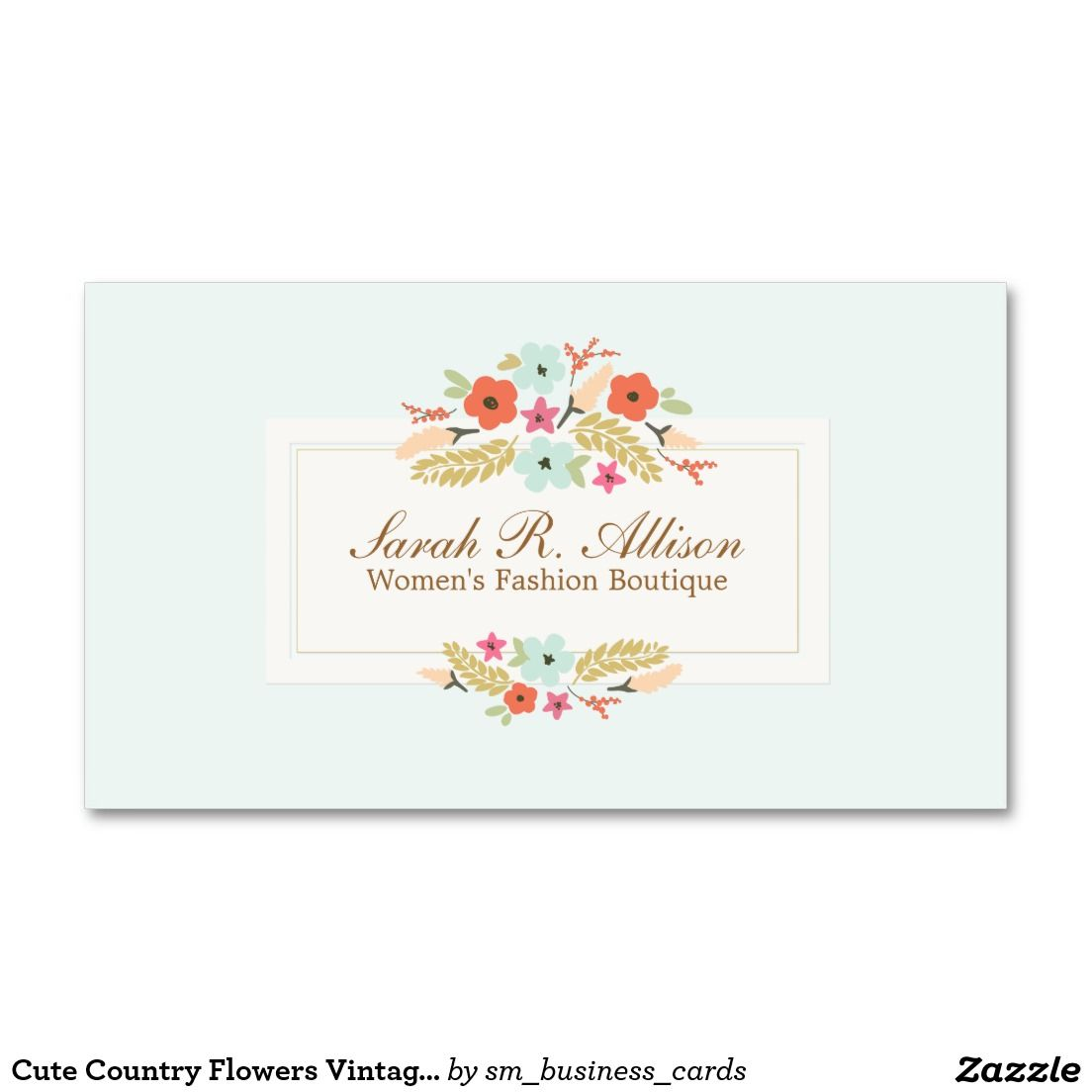 Cute Country Flowers Vintage Floral Boutique Business Card ...