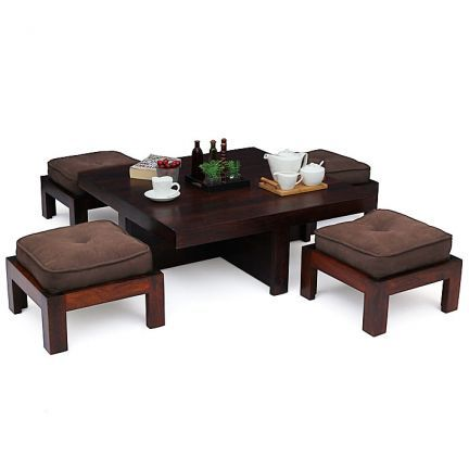 A stylish and practical wooden #coffee #table #set for all the lovers of handcrafted furniture out there. A classic wooden coffee table and four ...  sc 1 st  Pinterest & A stylish and practical wooden #coffee #table #set for all the ...