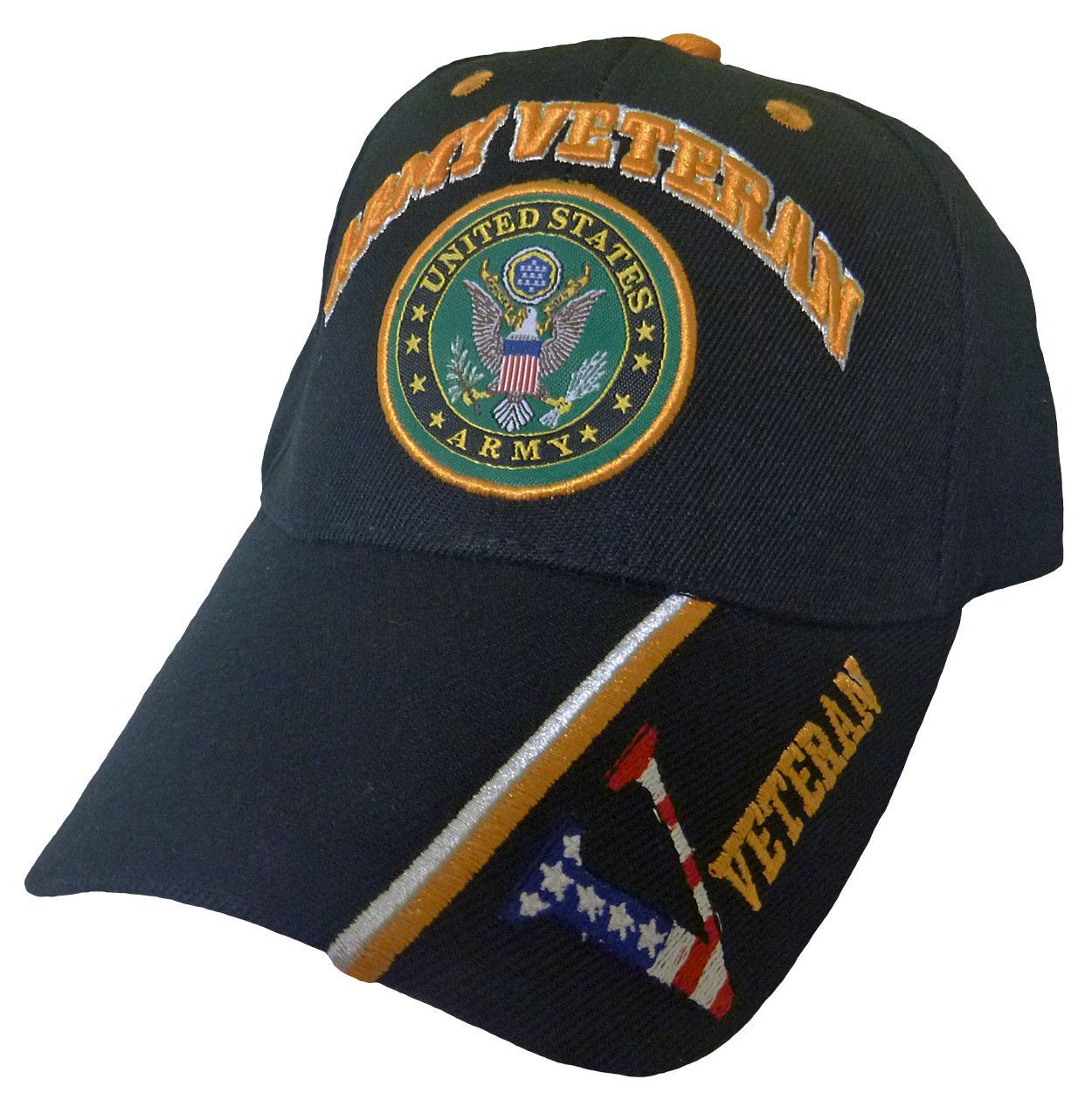 U.S. Army Hat Black Logo Veteran V Baseball Cap Military