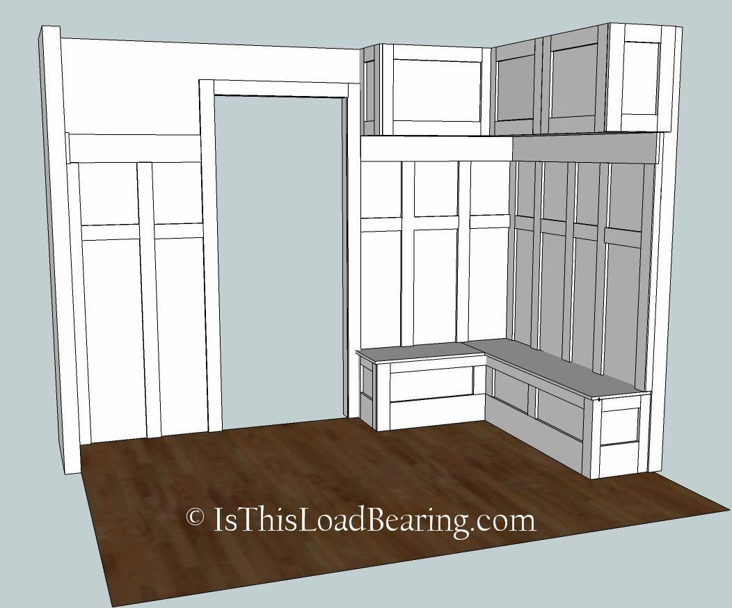 Corner shaped mudroom bench mudroom ideas pinterest for Building a mudroom bench