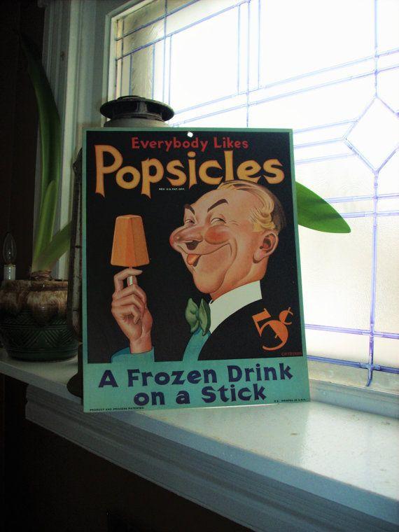 Vintage 1930s Popsicle Sign Cardboard Sign Unused Advertising